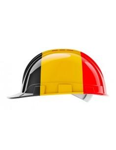 Casque de protection  pour le bâtiment avec drapeau belge, rendu 3D isolé sur fond blanc